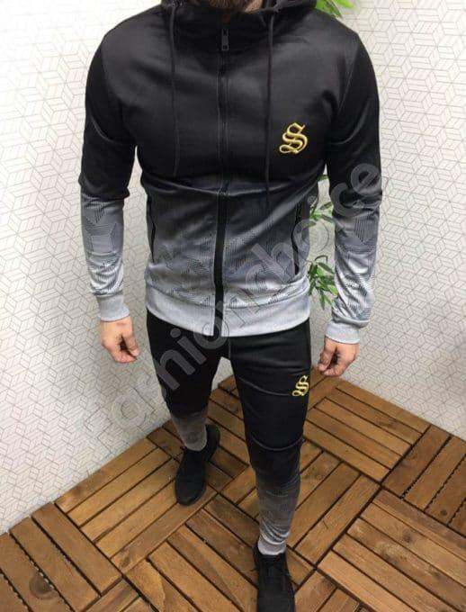 Мъжки спортен комплект в преливащ черно-сив десен-Код 307