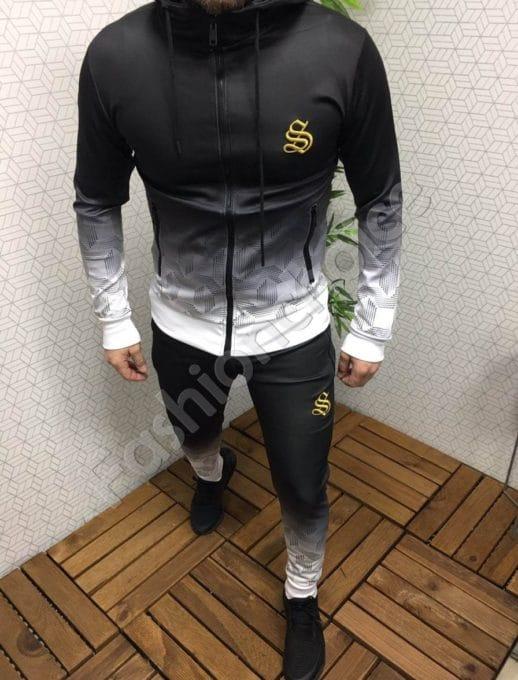 Мъжки спортен комплект в преливащ черно-бял десен-Код 306