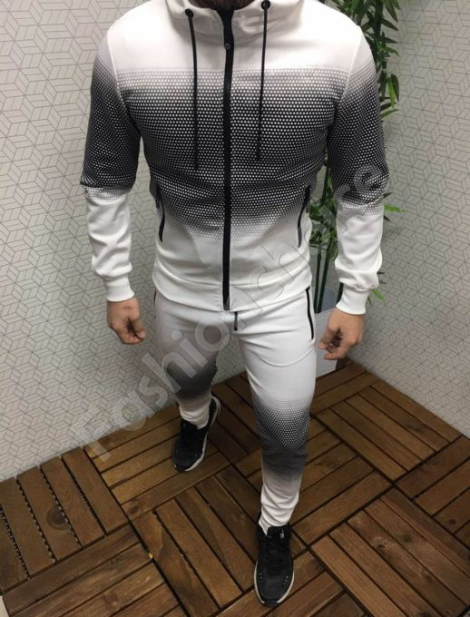 Мъжки спортен комплект в свеж бяло/черен десен-Код 305