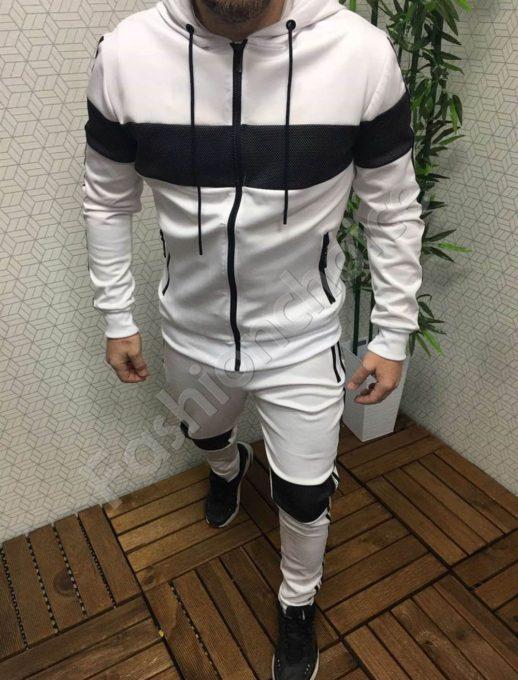 Мъжки спортен комплект в бяло с черна платка и кант-Код 309