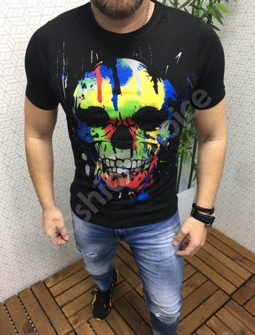 Мъжка тениска с цветна щампа -Код 802