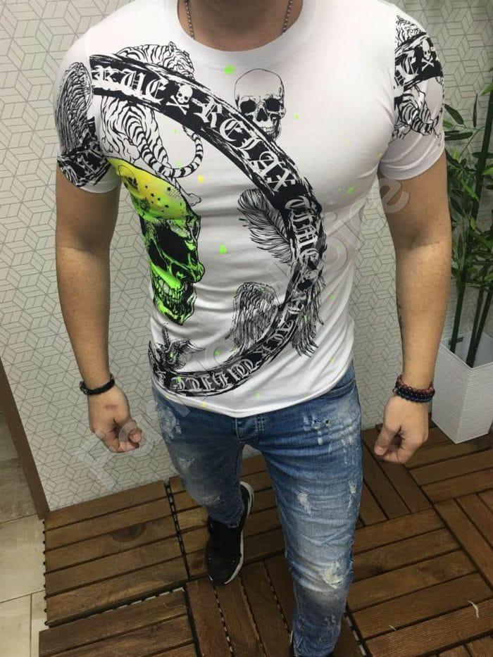 Мъжка тениска с ефектен абстрактен десен в бяло-код 775-1