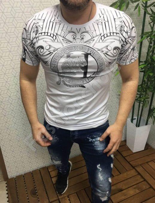 Мъжка бяла тениска с щампа тигър и камъчета-код 95