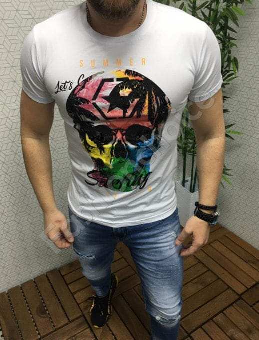 Мъжка тениска в бяло с надпис Summer surfing Код 6825-1