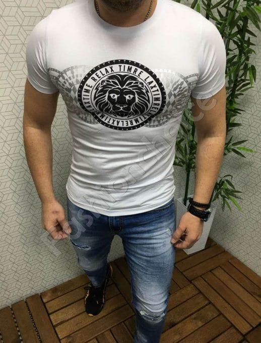 Мъжка бяла тениска с ефектна модна щампа-код 777-1