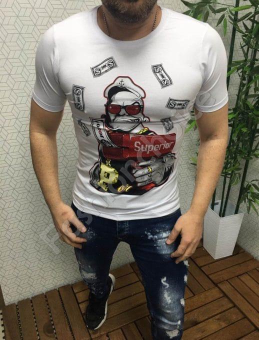 Мъжка бяла тениска с ефектен принт и цветни камъчета-код 104