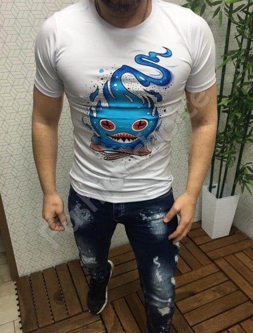 Мъжка бяла тениска със закачлив принт и камъчета-код 96