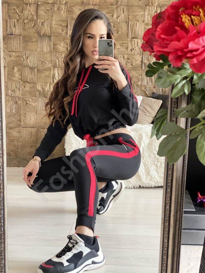 Сладко дамско екипче с вързанки в черно/червено-код 508-2