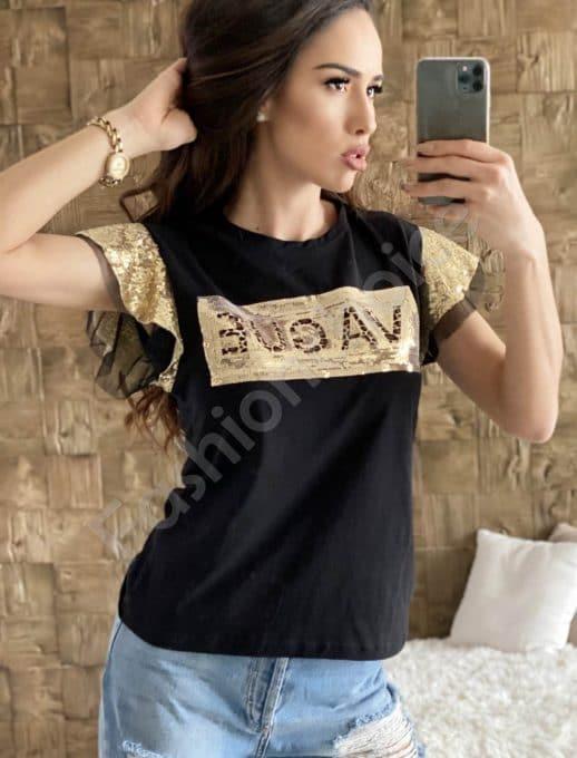 Красива блузка в черно със златни пайети-код 2001