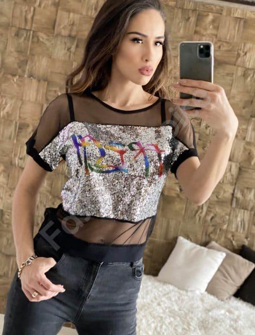 Кокетна блуза с ефирен тюл и сребристи пайети-код 911-1