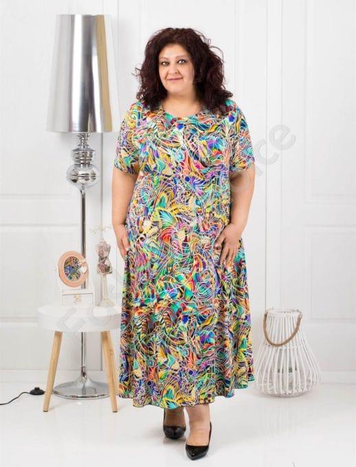 Разкроена дълга макси рокля в нежен цветен десен-код 1110-3