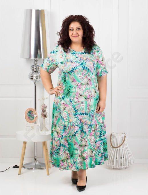 Разкроена дълга макси рокля в свеж десен цвят мента-код 1110-2