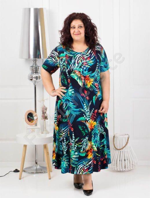 Разкроена дълга макси рокля в свеж тъмно син десен-код 1110-1