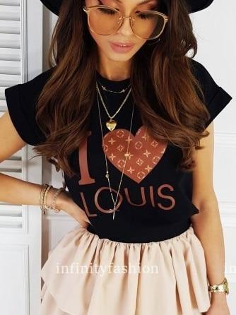 Дамска тениска в черно с шикозна щампа-код 878-8