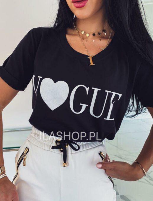 Дамска тениска в черно с модерна щампа-код 878-9