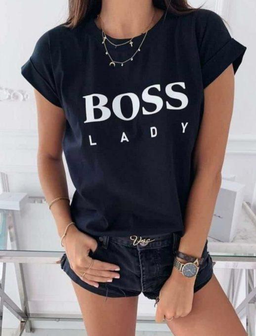 Дамска тениска в черно с красива щампа-код 878-5