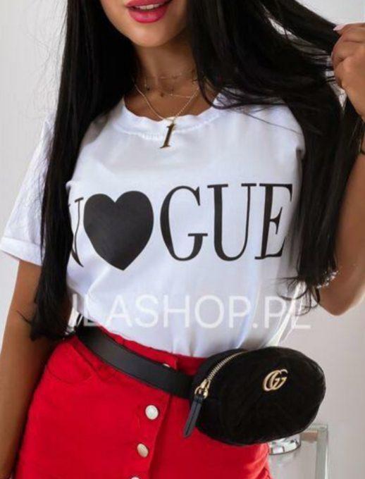Дамска тениска в бяло с модерна щампа-код 878-10