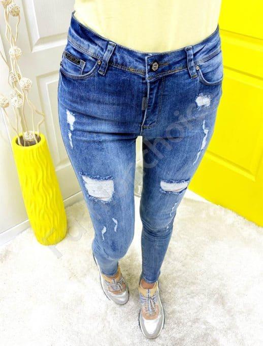 Дамски дънки с надран ефект slim fit -код 6011