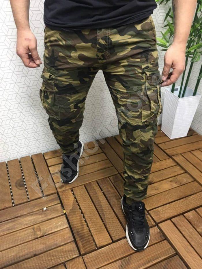 Мъжки камуфлажен панталон в кафяво с намачкан ефект код 2310
