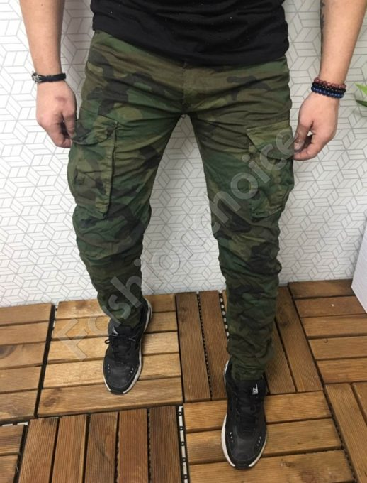 Мъжки камуфлажен панталон с намачкан ефект- зелен код 3518