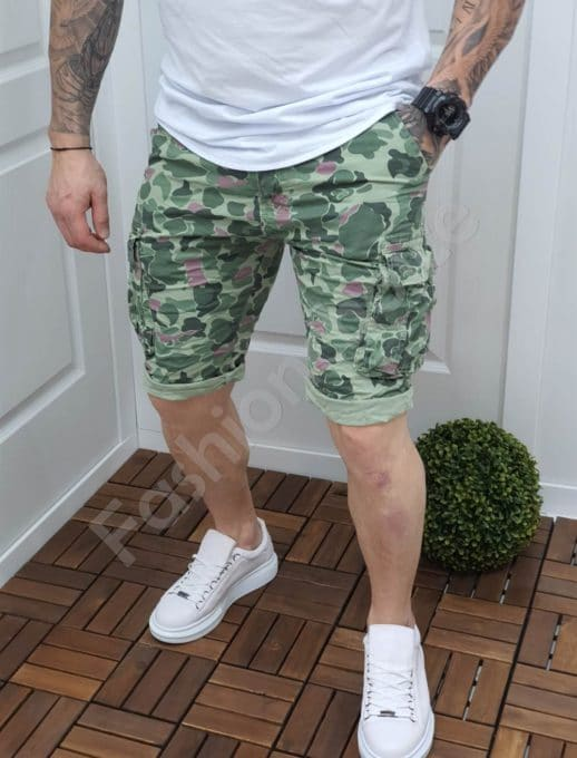 Мъжки къси камуфлажни панталони в зелен нюанс код 121-1