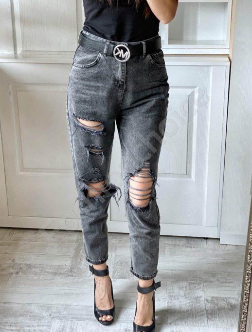 Дамски дънки с модерна кройка в черно-код 3828