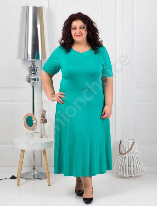 Разкроена едноцветна макси рокля в зелено-код 535-2