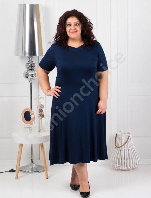 Разкроена едноцветна макси рокля в тъмно синьо-код 535-3