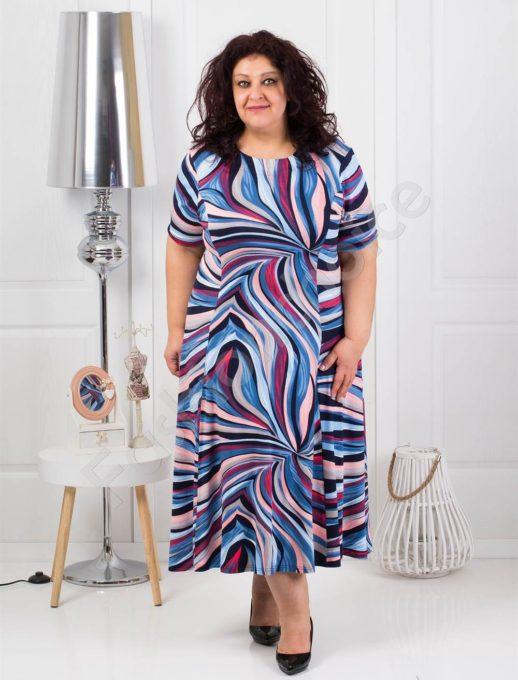 Елегнтна разкроена макси рокля в цветни мотиви-синьо-код 536
