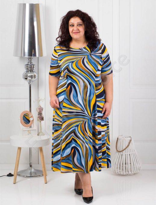 Елегнтна разкроена макси рокля в цветни мотиви-жълто-код 536-1