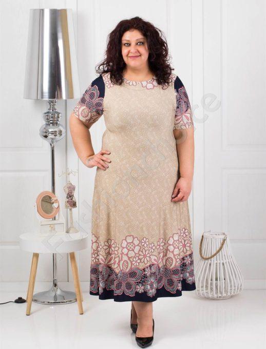 Прекрасна разкроена макси рокля в светло бежово-код 537-1