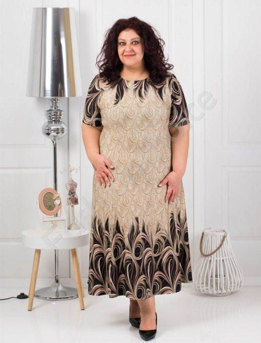 Красива дълга макси рокля в нежно бежово/3XL-4XL-5XL/-код 537-3
