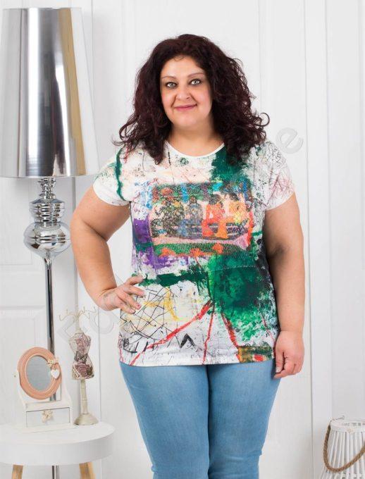 Цветна дамска макси блузка с пайети