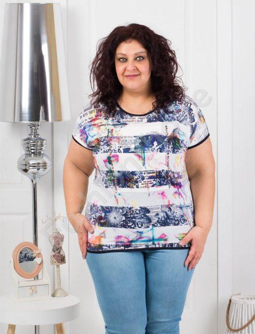 Лятна макси блузка с цветни перлички и интересен десен