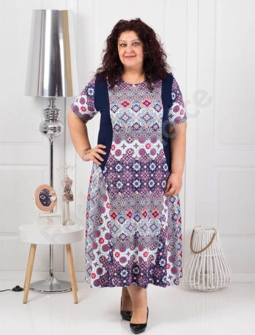 Красива дълга макси рокля на свежи цветни фигури-код 088-1