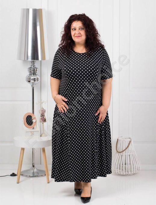 Красива дълга макси рокля в черен десен на бели точки-код 088