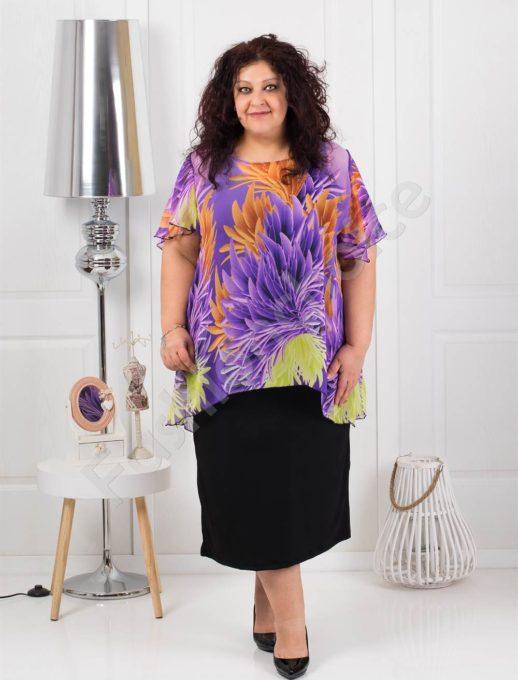 Дълга макси рокля от красив шифон в лилаво-код 585