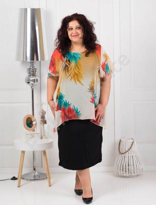 Дълга макси рокля от красив цветен шифон-код 585-5