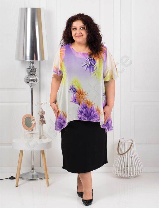 Дълга макси рокля от шифон на лилави цветя-код 585-6