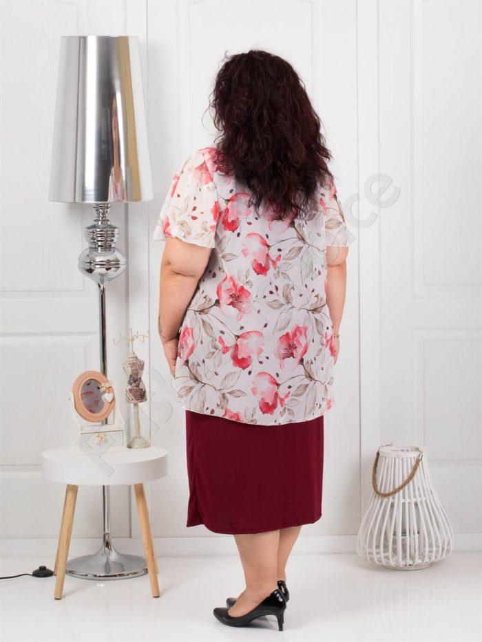 Дълга макси рокля от красив шифон в бордо-код 585-4