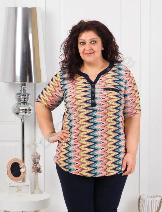 Макси блуза в интересен десен зиг-заг в цвят корал-код 1217