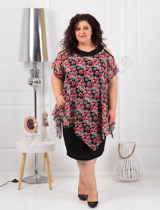 Изискана макси рокля с шифон на цвежи цветя-код 538