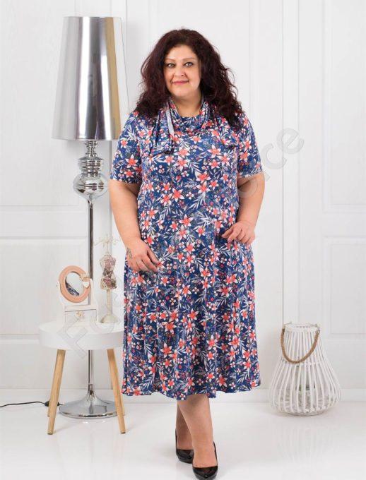 Цветна разкроена макси рокля+подарък шалче-код 537-5