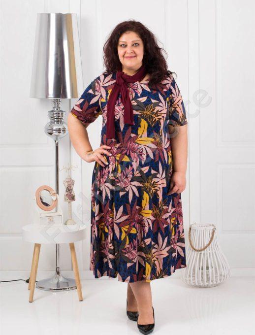 Дамска разкроена макси рокля+подарък шалче-код 537-7