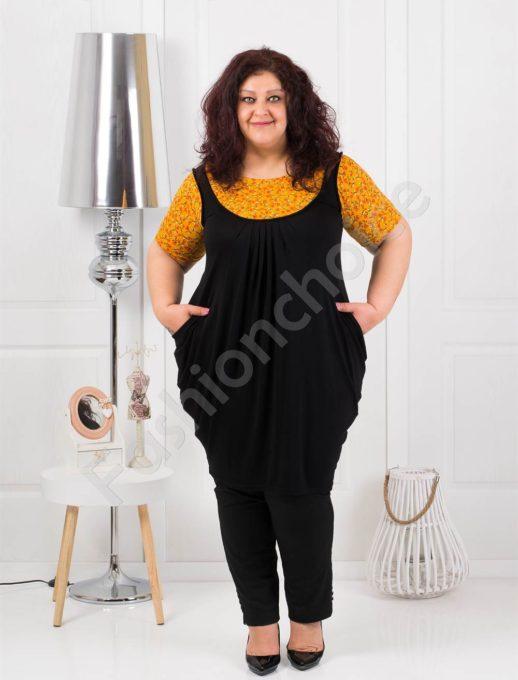 Красива дамска макси туника - черно с жълто Код 2043