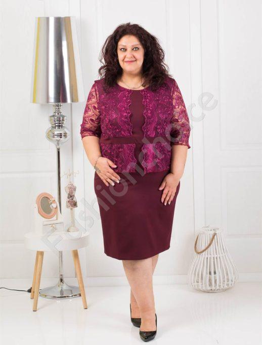 Луксозна макси рокля с брюкселска дантела в цвят бордо-код 012
