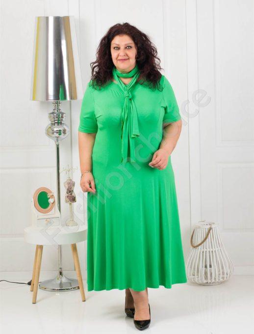 Разкроена макси рокля в приятно зелено+подарък шалче-код 535-6