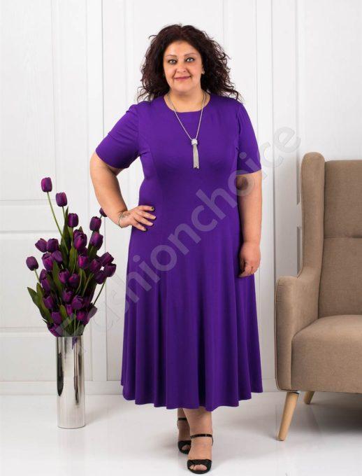 Разкроена макси рокля в лилаво+подарък нежно бижу-код 535-5