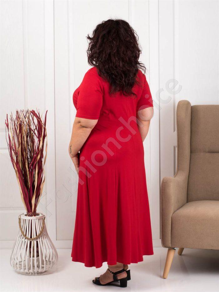 Разкроена макси рокля в червено+подарък нежно бижу-код 535-4