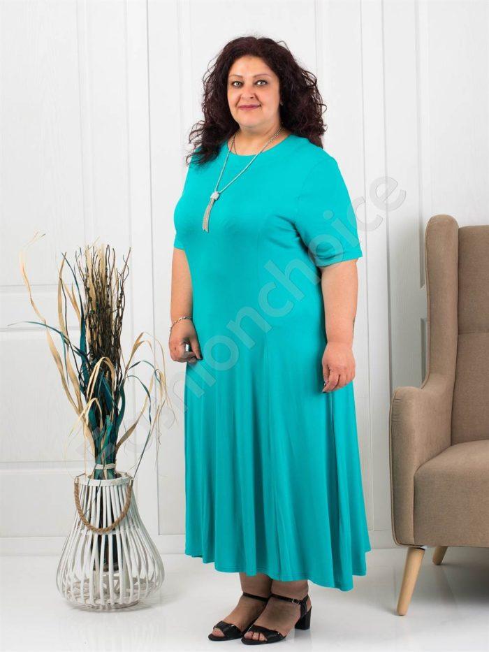 Разкроена макси рокля в цвят аква+подарък нежно бижу-код 535-2